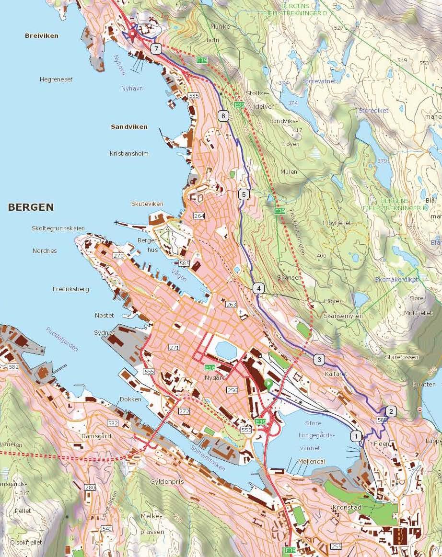 kart bergen og omegn Fjellveien, Bergen   Bynære sykkelturer kart bergen og omegn
