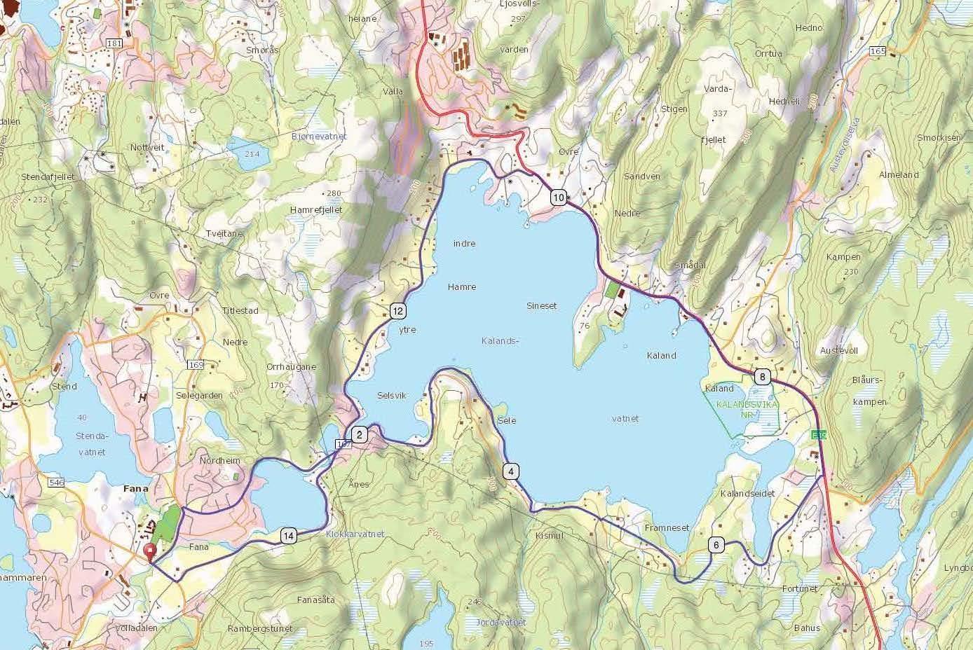kart bergen og omegn Kalandsvatnet, Bergen   Bynære sykkelturer kart bergen og omegn